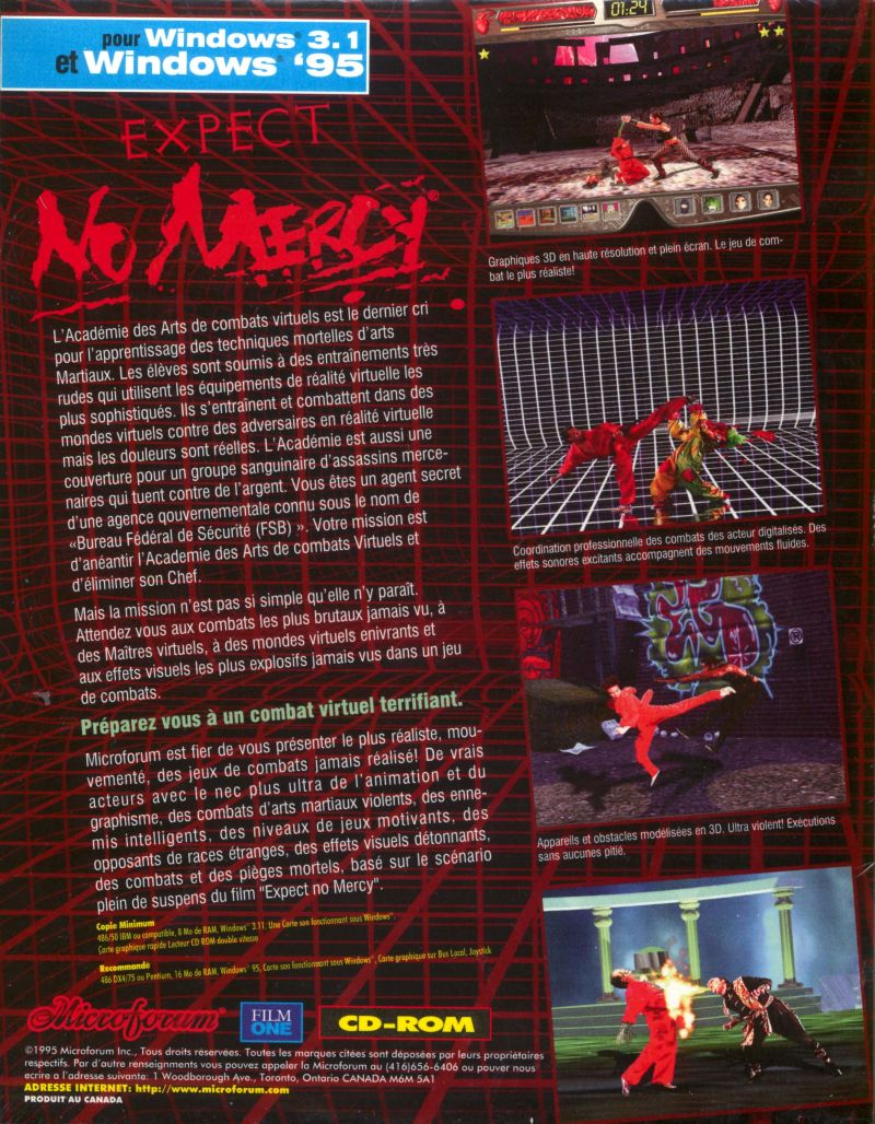 Expect No Mercy Windows 3.x Back Cover
