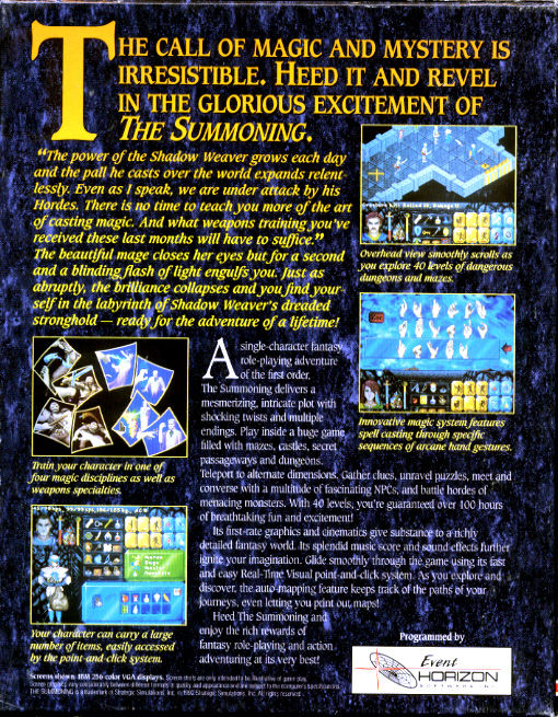 The Summoning DOS Back Cover
