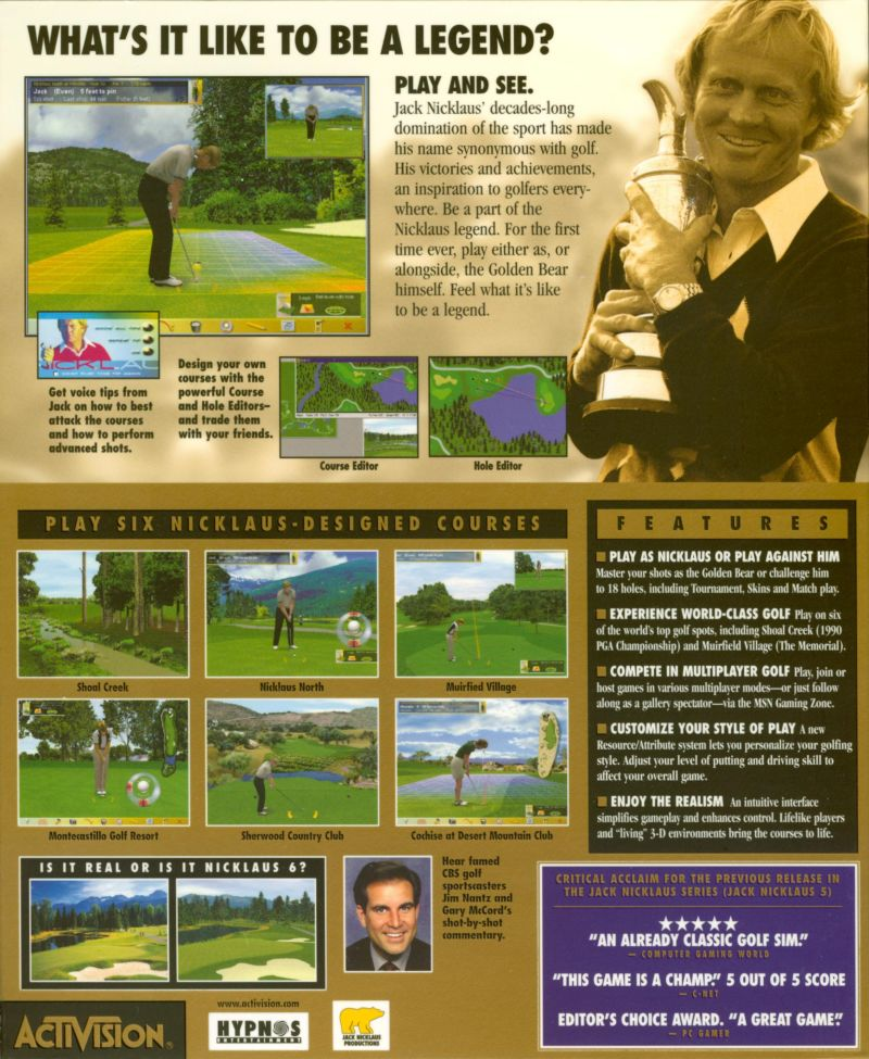 Jack Nicklaus 6: Golden Bear Challenge Windows Back Cover