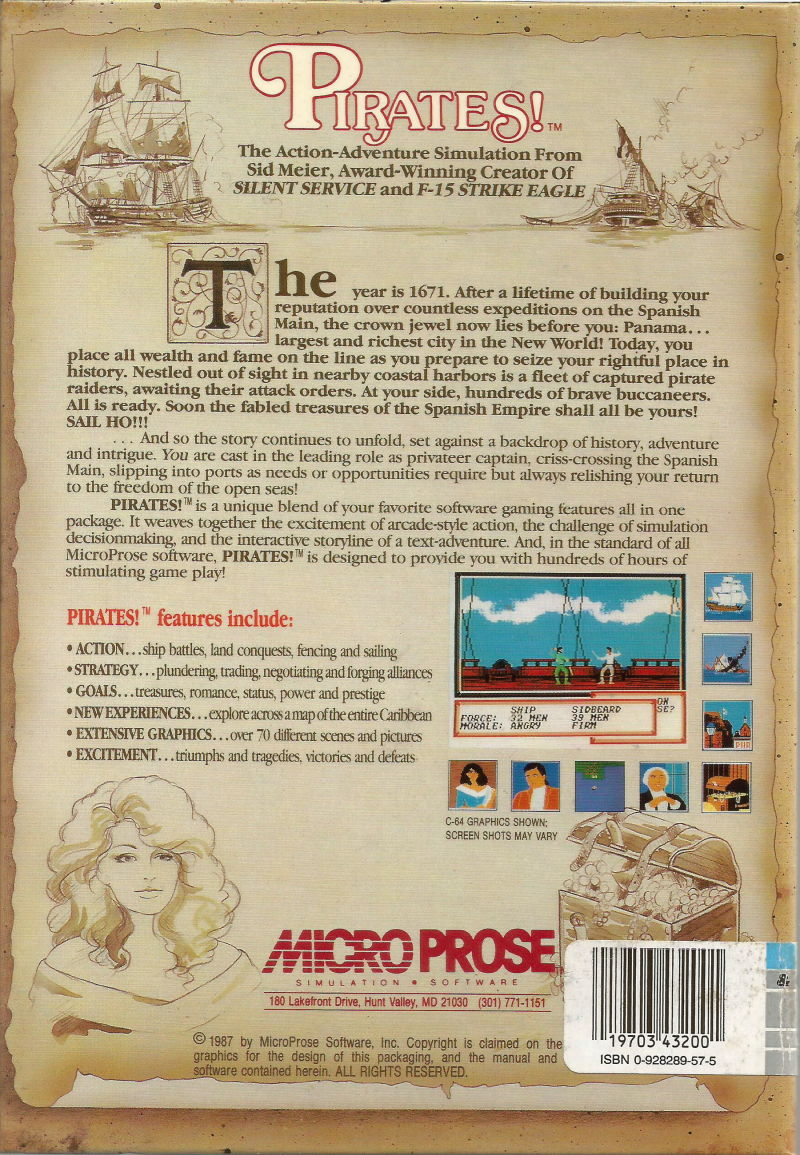 Sid Meier's Pirates! PC Booter Back Cover