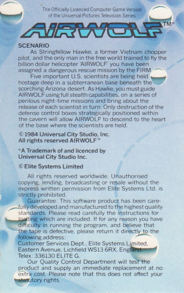 Airwolf Commodore 64 Inside Cover