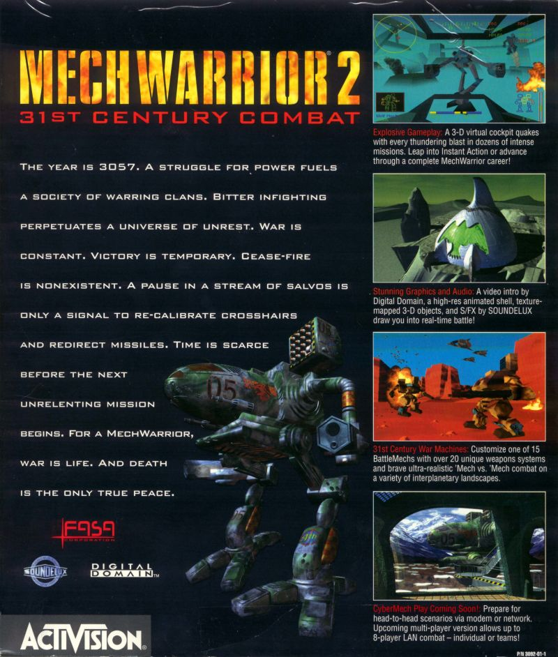 MechWarrior 2: 31st Century Combat DOS Back Cover