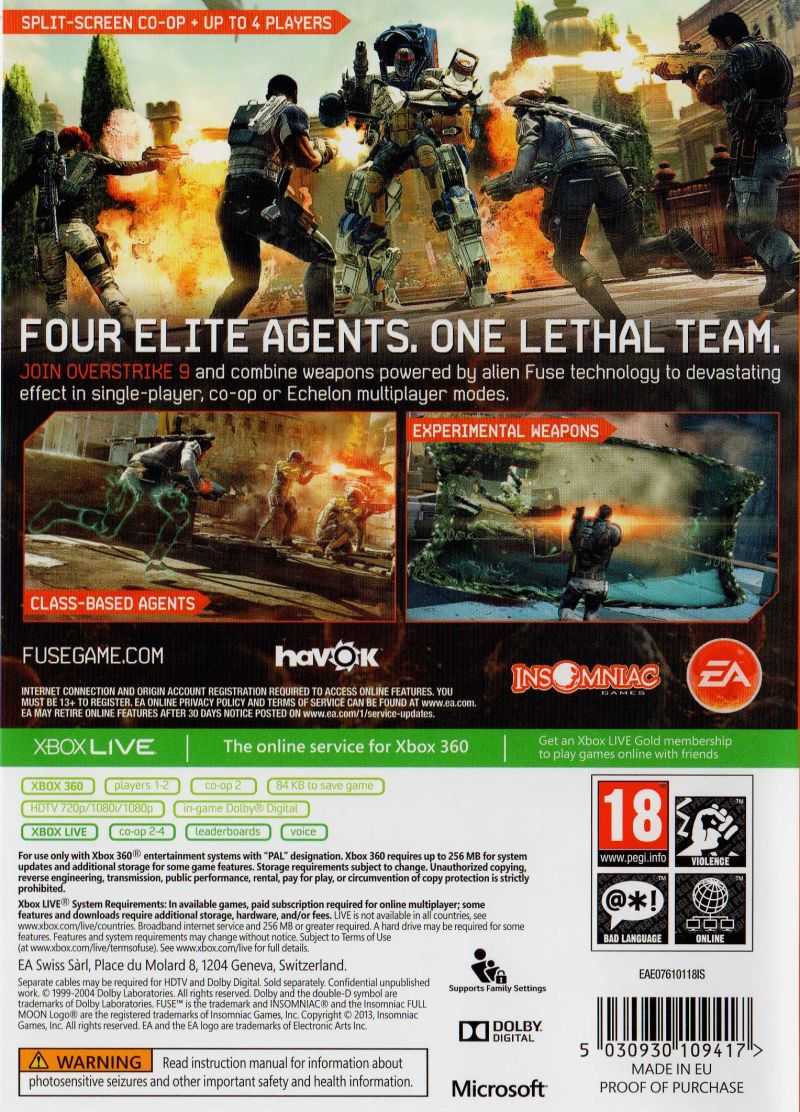 Fuse (2013) Xbox 360 box cover art - MobyGames on