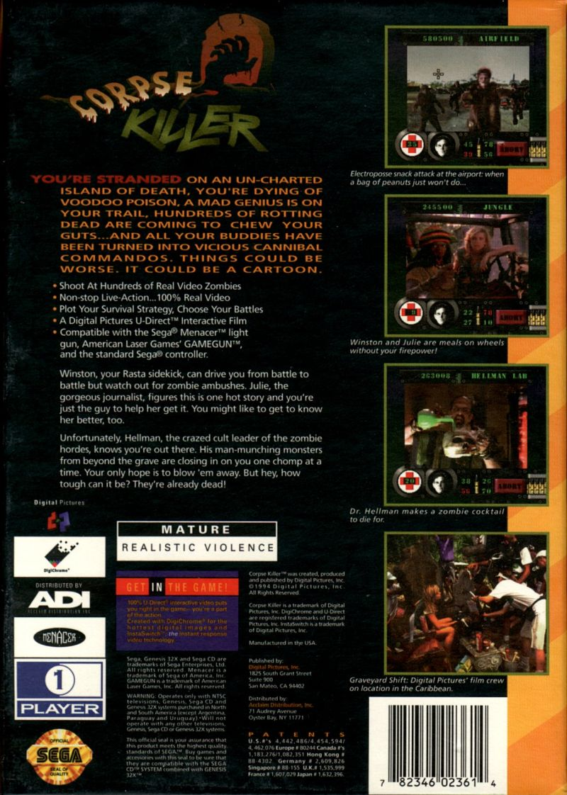 Corpse Killer SEGA 32X Back Cover