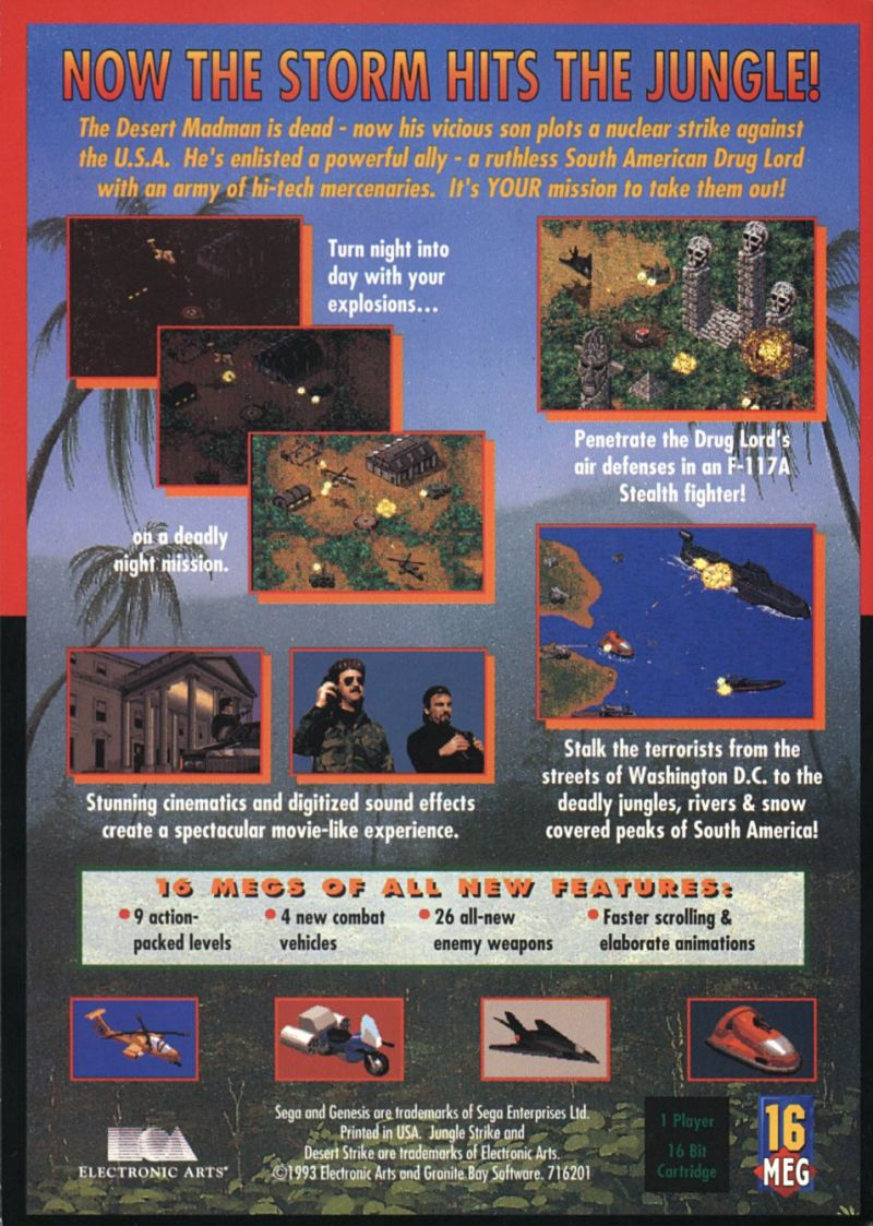 Jungle Strike Genesis Back Cover