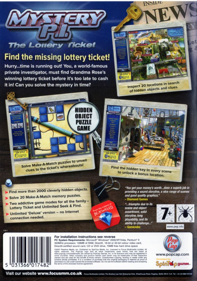 Mystery P.I.: The Lottery Ticket Windows Back Cover