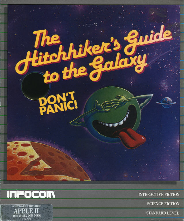 The Hitchhiker's Guide to the Galaxy Apple II Front Cover
