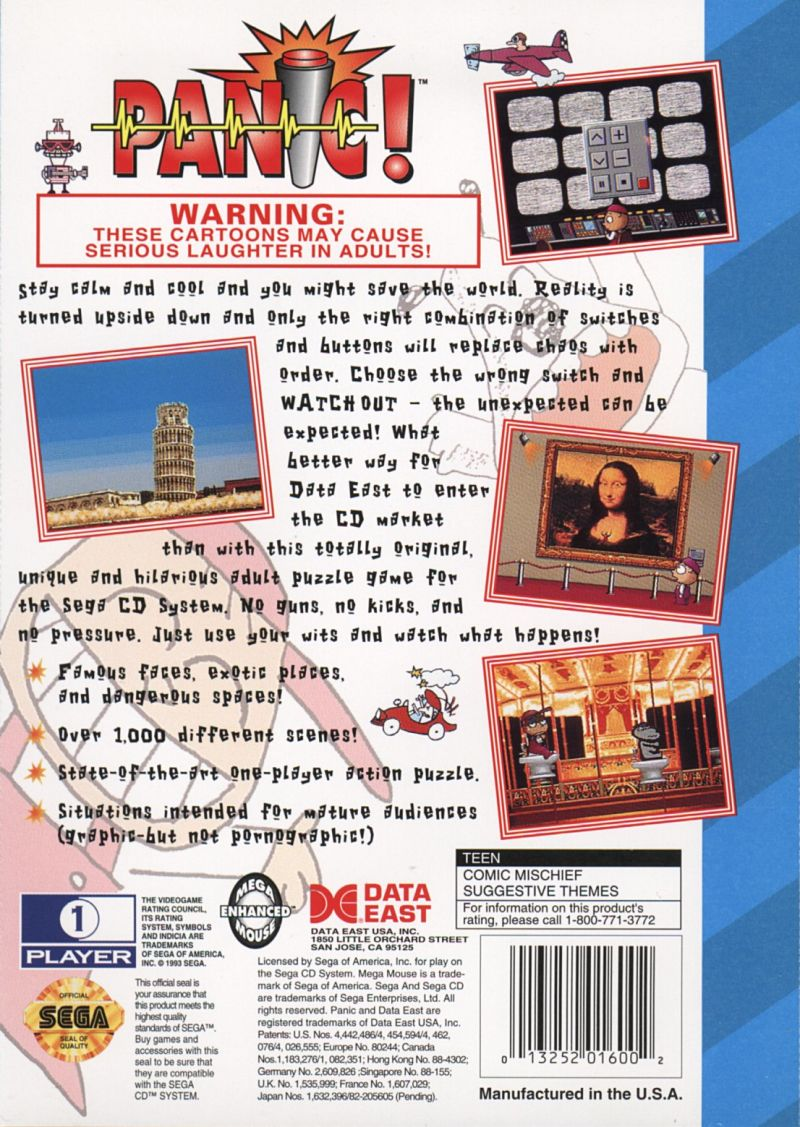 Panic! SEGA CD Back Cover