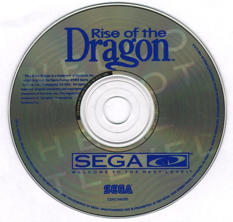 Rise of the Dragon SEGA CD Media