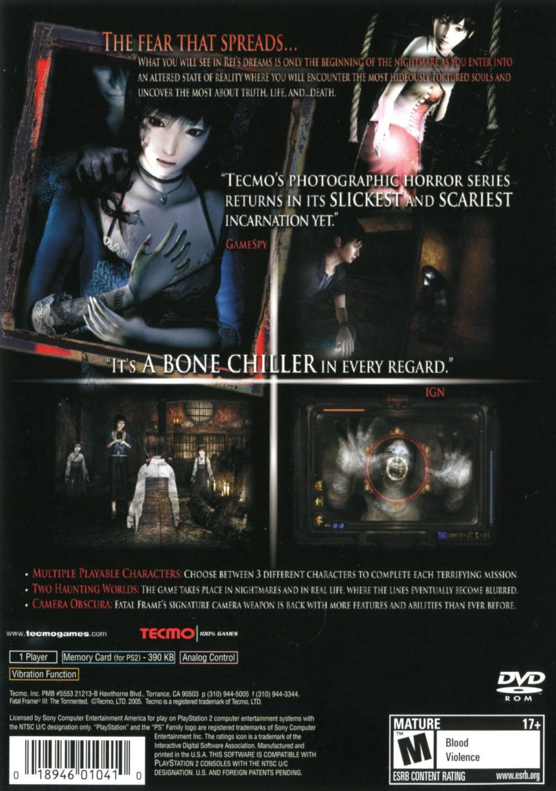 Fatal Frame III: The Tormented (2005) PlayStation 2 box cover art ...