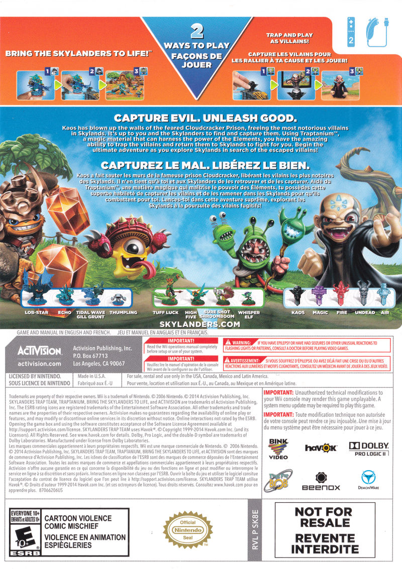 Skylanders: Trap Team (Dark Edition Starter Pack) (2014) Wii box cover art - MobyGames
