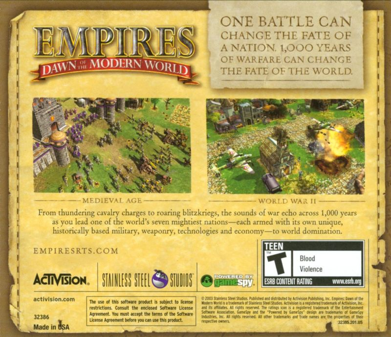 Empires: Dawn of the Modern World Windows Other Jewel Case - Back