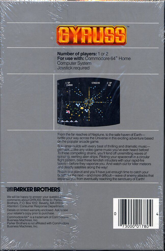 Gyruss Commodore 64 Back Cover