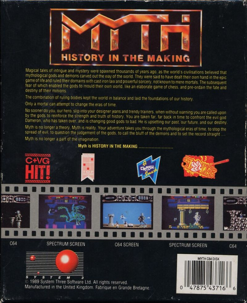 Myth: History in the Making Commodore 64 Back Cover