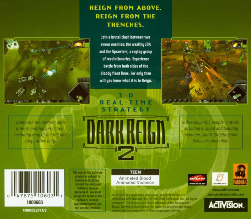 Dark Reign 2 Windows Other Jewel Case - Back