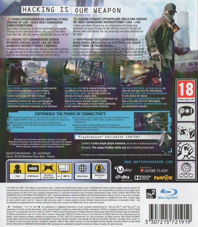 Watch_Dogs (PS4 Exclusive Edition) (2014) PlayStation 3 ...
