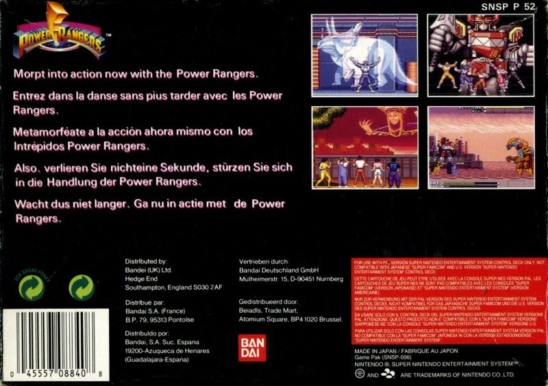 Mighty Morphin Power Rangers SNES Back Cover