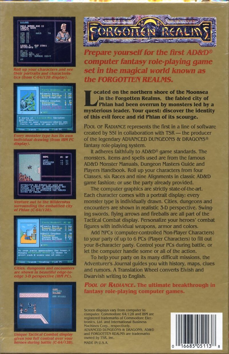 Pool of Radiance Commodore 64 Back Cover