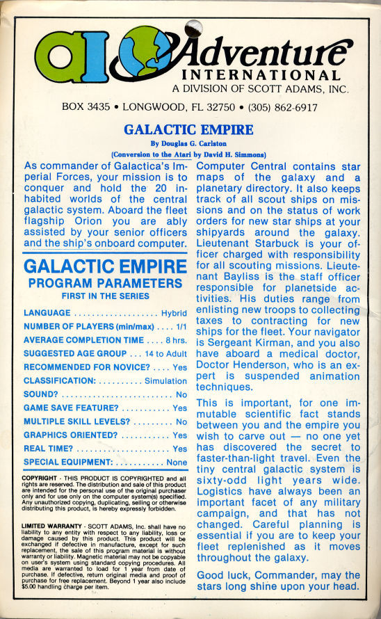 Galactic Empire TRS-80 Back Cover