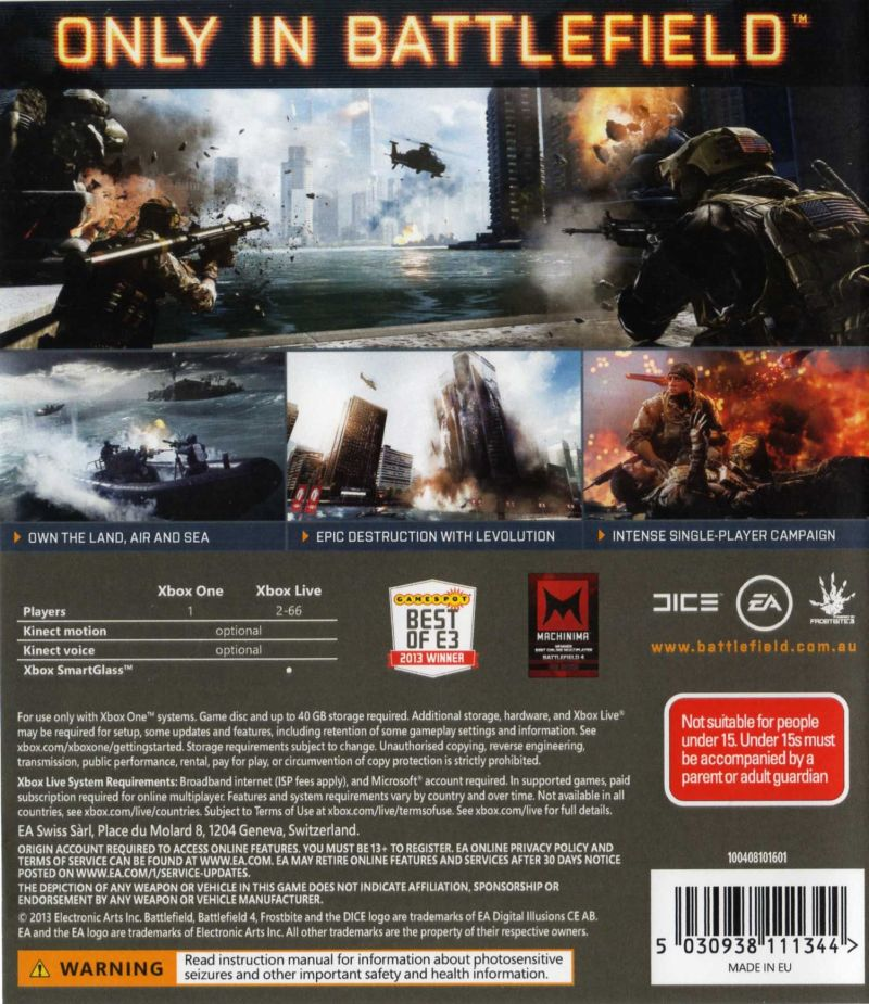 Xbox One Game Cover Back Battlefield 4 (2013) X...