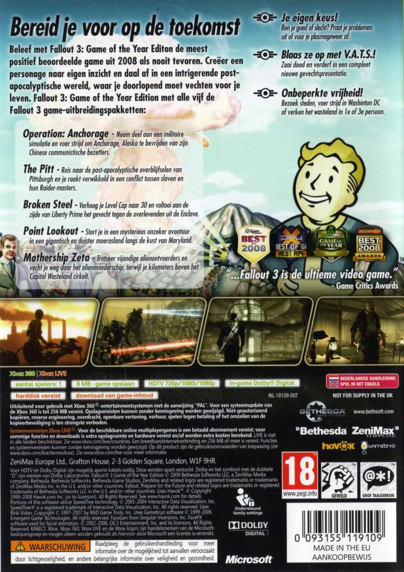 Xbox 360 Game Cover Back Fallout 3: Game of the...