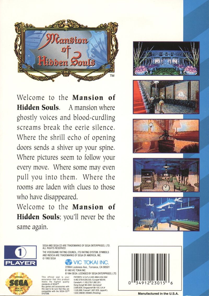 Mansion of Hidden Souls SEGA CD Back Cover