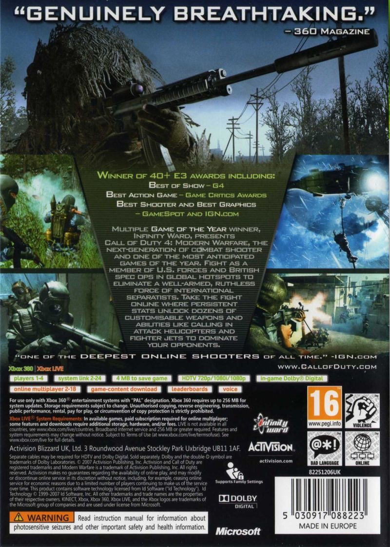 Call of Duty 4: Modern Warfare (2007) Xbox 360 box cover art - MobyGames