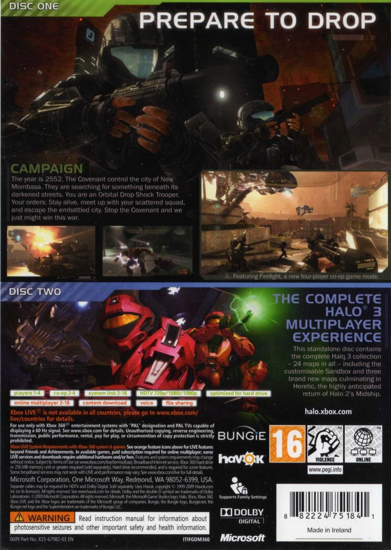 Xbox 360 Game Cover Back Halo 3: ODST (2009) Xb...