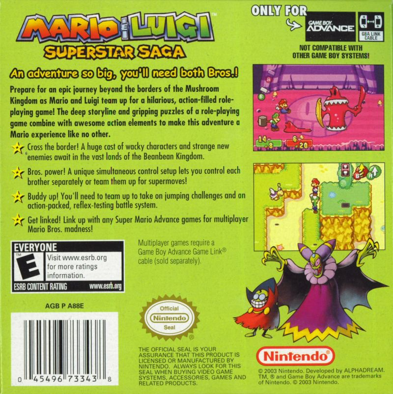 Mario & Luigi: Superstar Saga Game Boy Advance Back Cover
