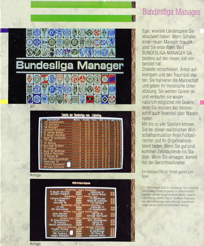 Bundesliga Manager Commodore 64 Back Cover