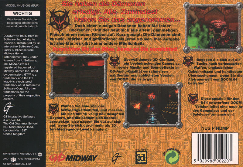 DOOM 64 Nintendo 64 Back Cover