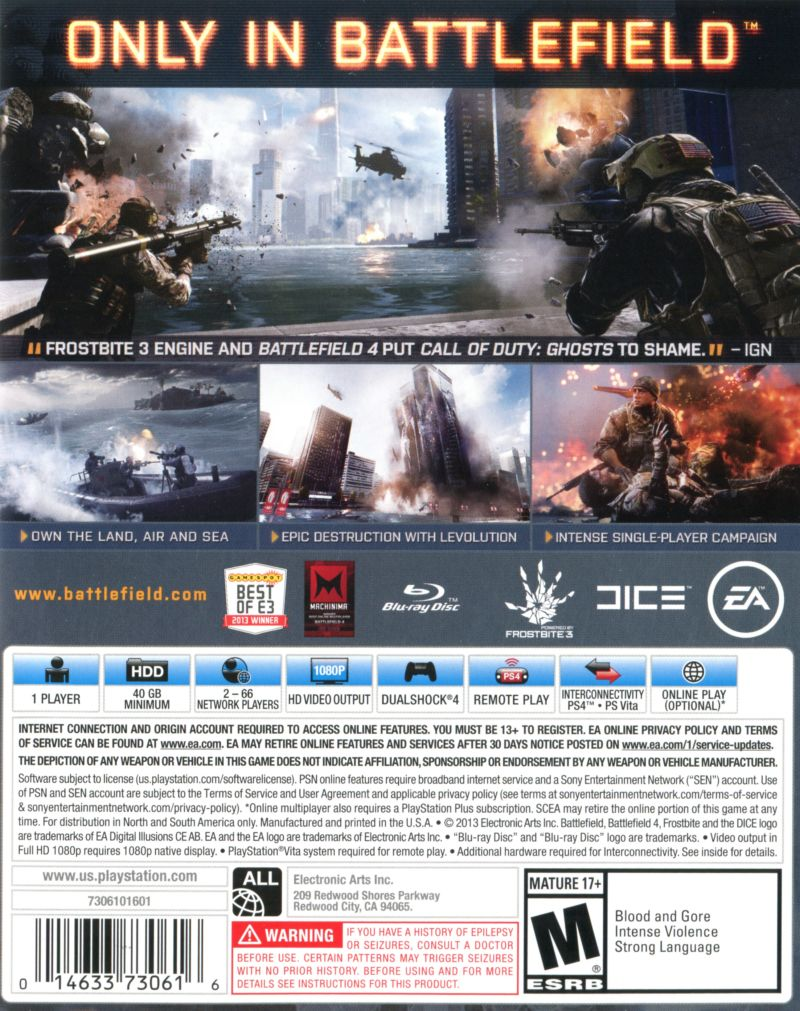 Battlefield 4 (2013) PlayStation 3 box cover art - MobyGames
