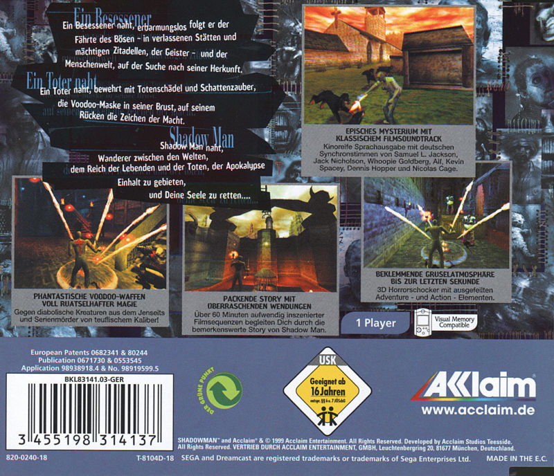 Shadow Man Dreamcast Back Cover