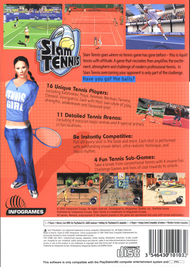 Slam Tennis PlayStation 2 Back Cover