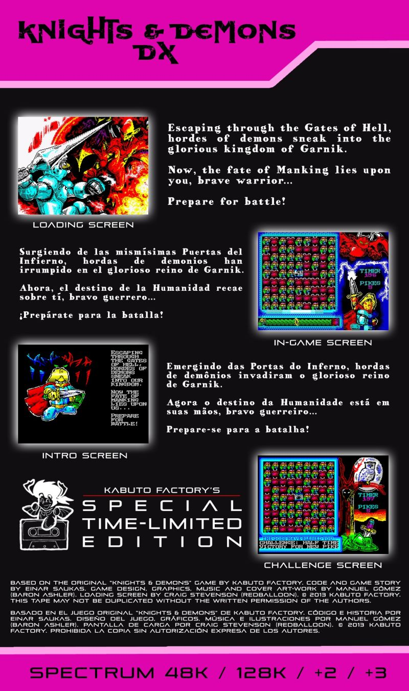 Knights & Demons DX ZX Spectrum Back Cover