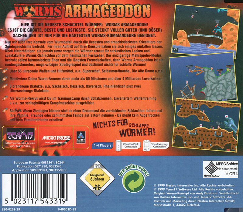 Worms: Armageddon Dreamcast Back Cover