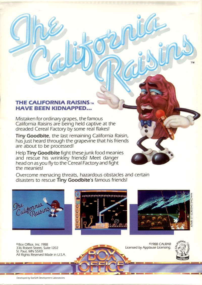 The California Raisins DOS Back Cover