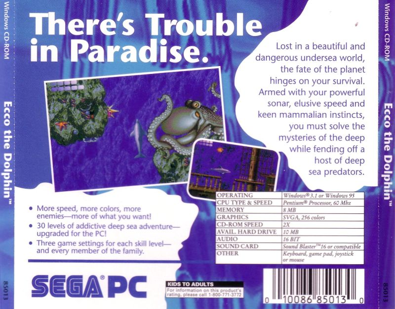 Ecco the Dolphin Windows 3.x Back Cover