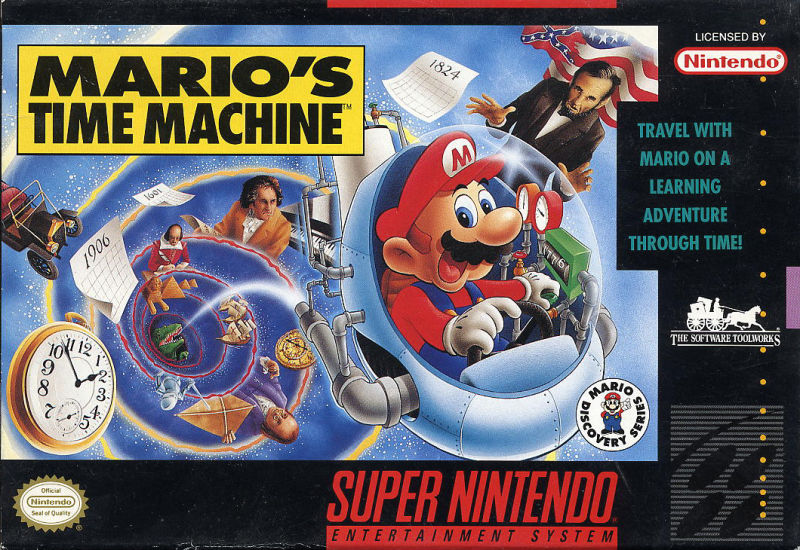 Mario's Time Machine SNES Front Cover