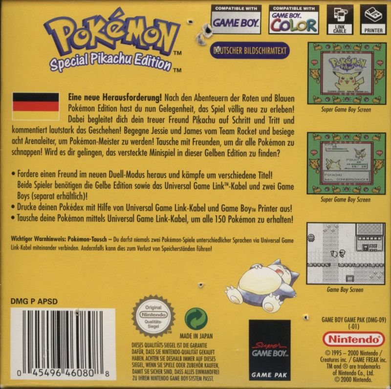 Pokémon Yellow Version: Special Pikachu Edition Game Boy Back Cover
