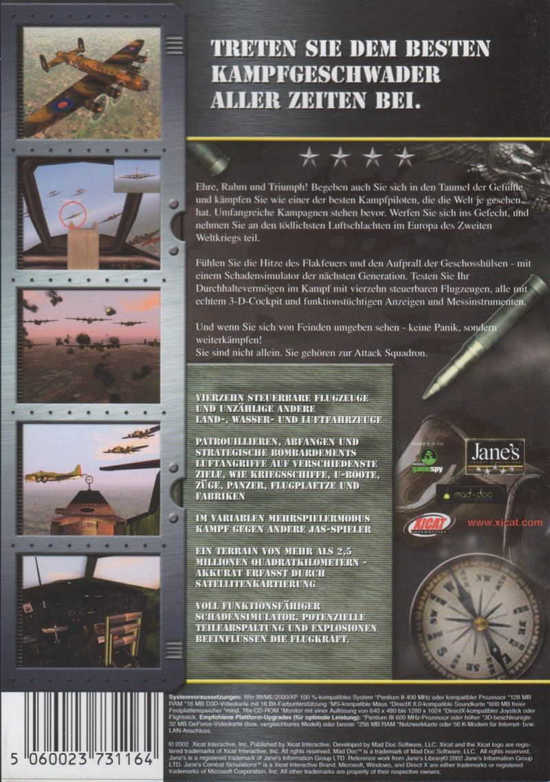 Jane's Combat Simulations: Attack Squadron Windows Back Cover