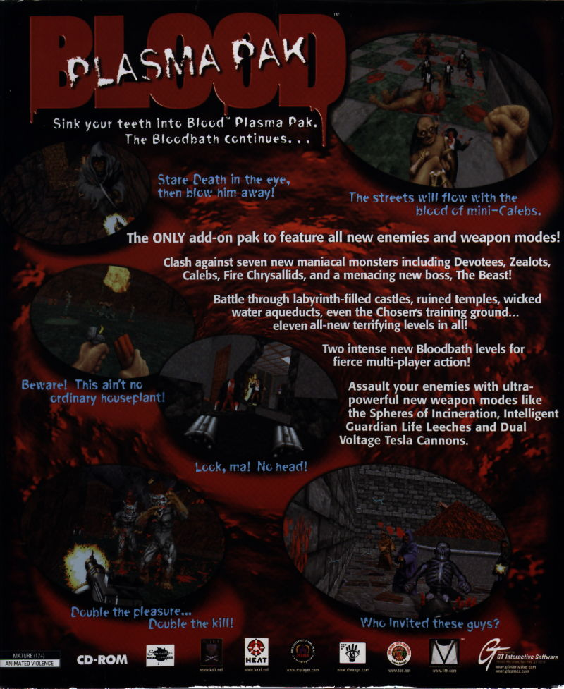 Blood: Plasma Pak DOS Back Cover