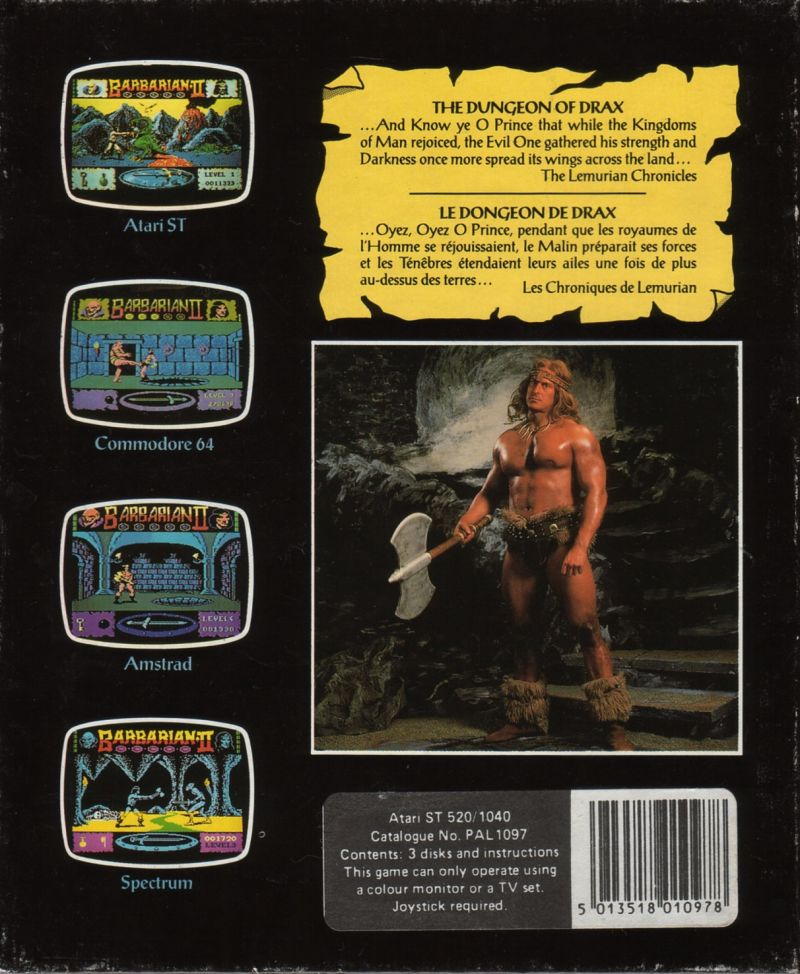 Axe of Rage Atari ST Back Cover