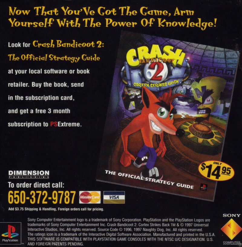 Crash Bandicoot 2: Cortex Strikes Back PlayStation Manual Back