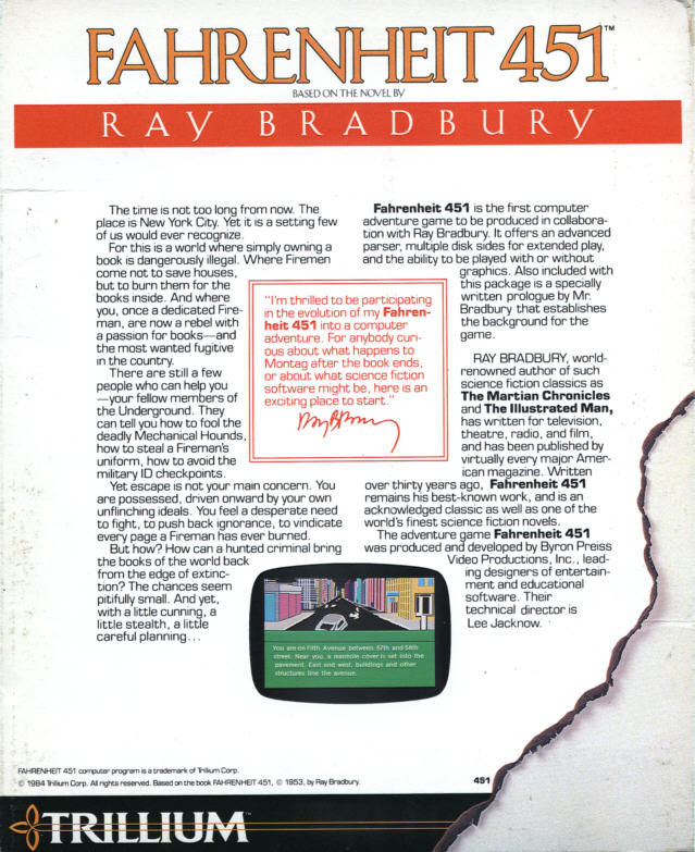 Fahrenheit 451 Commodore 64 Back Cover