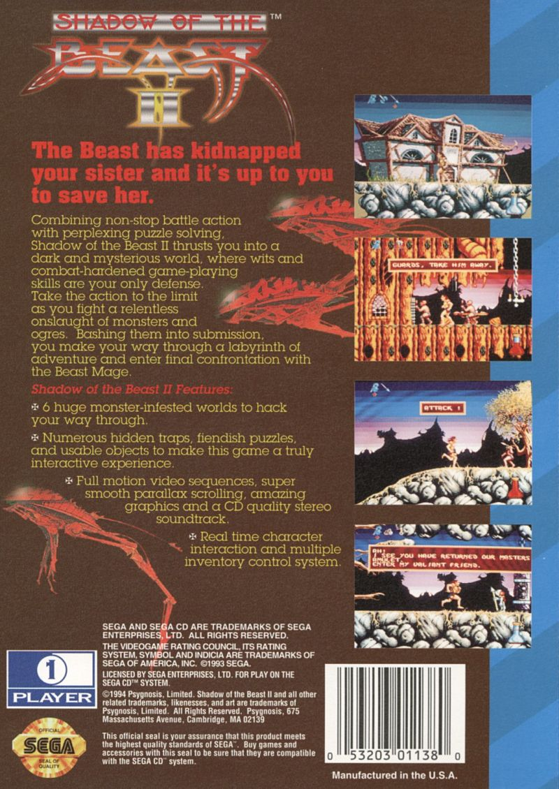 Shadow of the Beast II SEGA CD Back Cover