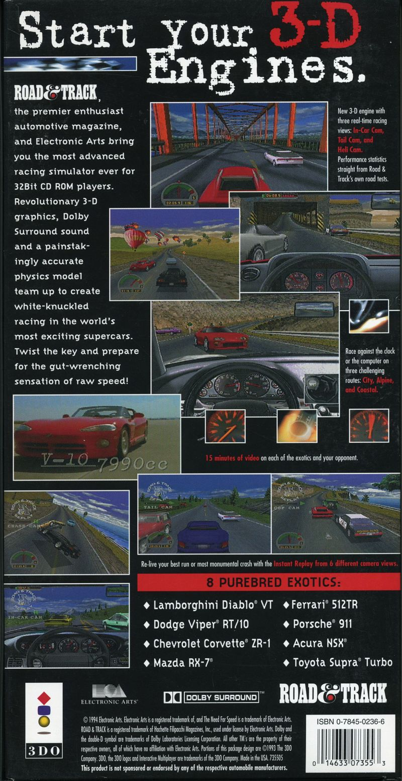The Need For Speed 3DO Back Cover