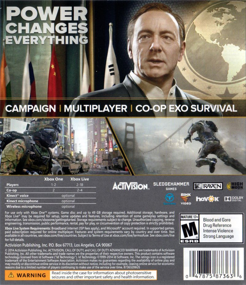 Call of Duty: Advanced Warfare (2014) Xbox One box cover ...
