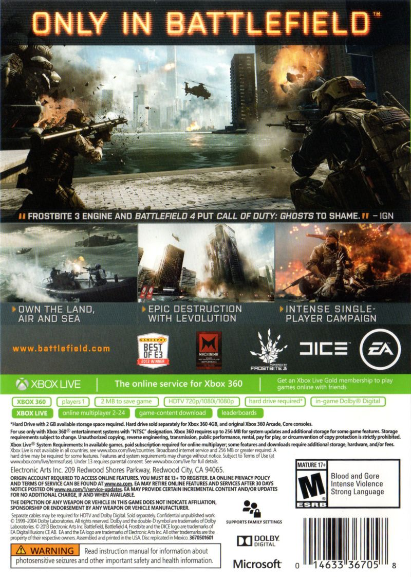 Xbox 360 Game Cover Back Battlefield 4 (2013) X...