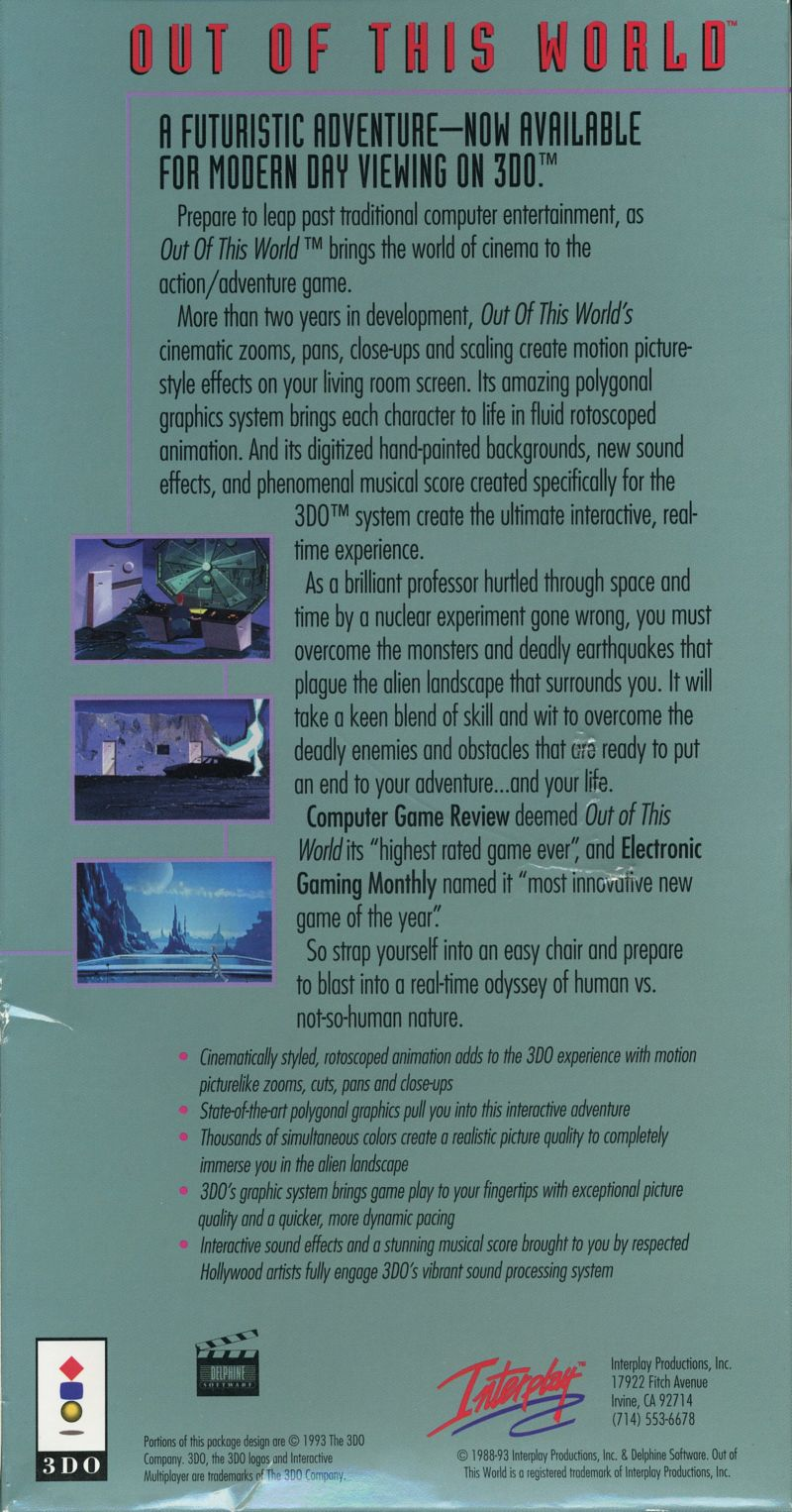 Out of This World 3DO Back Cover